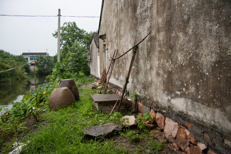 wage earners: Old abandoned houses in the village Stock Photo