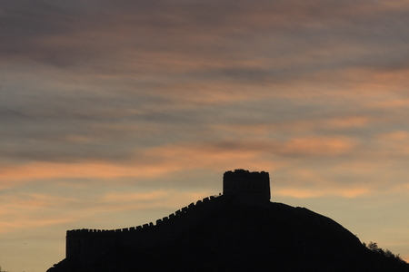 back lighting: View of great wall during sunset with back lighting