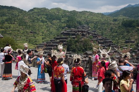 miao: Tourists in the Xi Jiang Hu Miao village