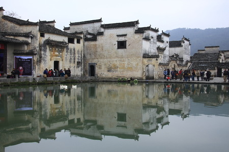 silver maple: Hongcun in Yixian County, Anhui Province, the whole village was built along the mountain with water, it more attractive than other villages of Huizhou architecture known as the painted village. Editorial