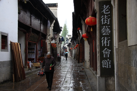 characterized: Gaochun old street was built in the Song dynasty,  the shop with clear Anhui characterized architecture.