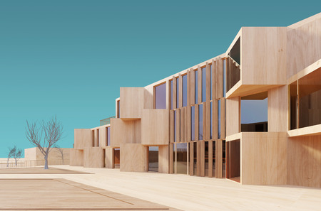 visualization: Concept visualization of a modern house, done as a wood model