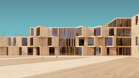 maquette: Concept visualization of a modern house facade, done as a wood model