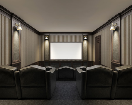 Interior of luxury home theater whith lounge chairs