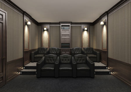 residential homes: Interior of luxury home theater whith lounge chairs