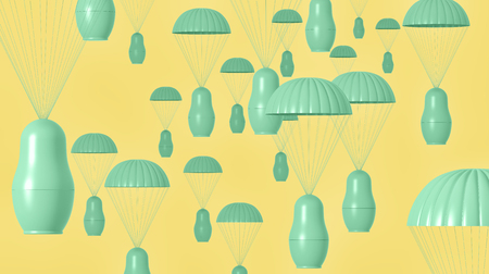 latent: 3d render of a colorful matryoshka nesting doll paratroopers