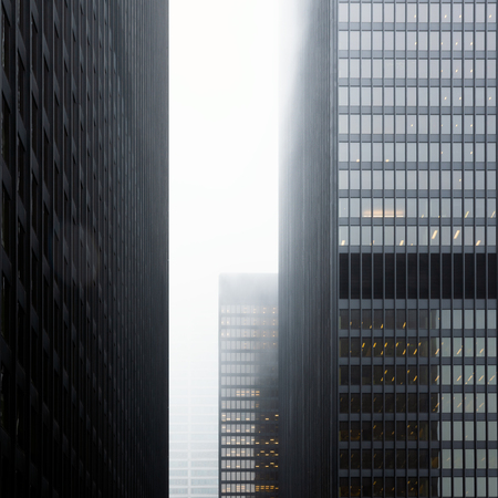 Straight view of Toronto financial center modern skyscraper in foggy overcast day