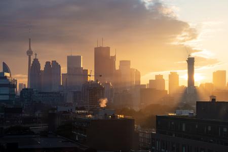 Toronto city center skyline during evening golden hour sunset