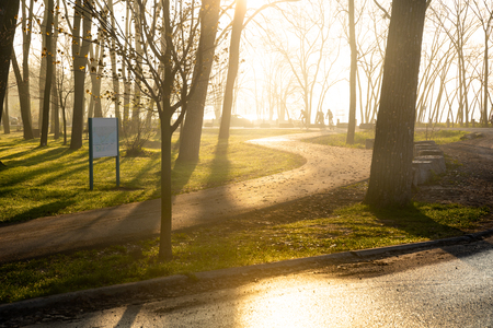 Morning springtime park at sunrise with sun light rays and distant cyclists silhouette riding on a bike path