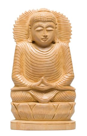 Isolated Wood Carving - Wooden Buddha statue from Nepal isolated on the white background Stock Photo