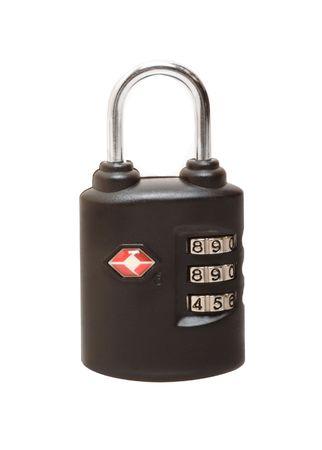 Black combination padlock isolated on the white background photo