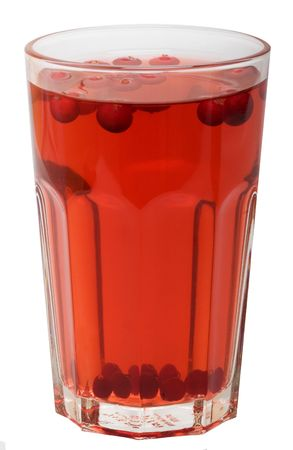 Red cranberry fruit drink isolated on the white background
