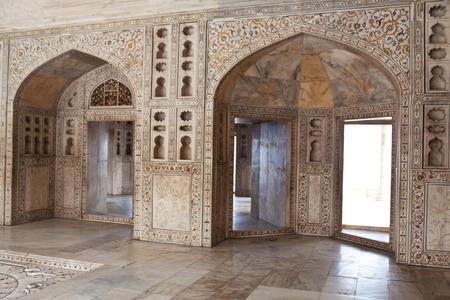 jehan: White marble detail in Baby Taj in Agra Uttar Pradesh India