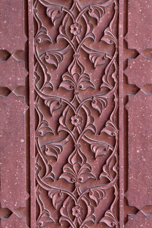 inlay: Details of marble surface with stone inlay in Agra India Stock Photo