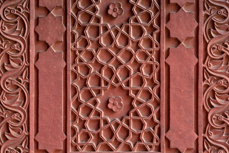 inlay: Details of marble surface with stone inlay in Agra India. Stock Photo