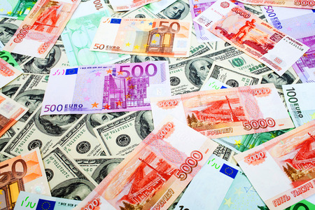 roubles: Dollars Russian roubles and Euro close up background