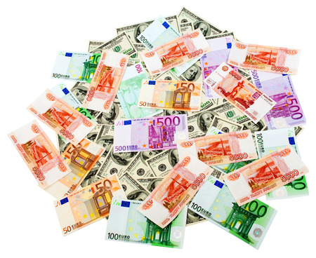 roubles: Russian Roubles US Dollars and Euro isolated on the white background