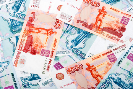 Various Russian Rouble Banknotes Background