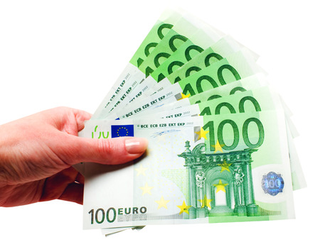 one hundred euro banknote: Hand with money isolated on the white background