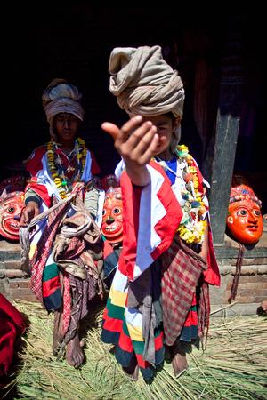 nepali: BHAKTAPUR, NEPAL - APRIL 01: Nepali Shaman poses for a photo during harvest fesival on April 01, 2010 in Bhaktapur, Kathmandu valley, Nep