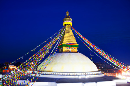 stupa one: Boudhanath Stupa in the Kathmandu valley, Nepal. The ancient Stupa is one of the largest in the world.  As of 1979, Boudhanath is a UNESCO World Heritage Site. Editorial