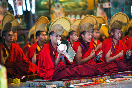 KATHMANDU, NEPAL - MARCH 02: Buddhist monks and lamas playing music during Puja ceremony at Shechen monastery on March 02, 2010 in Kathmandu, Nepal Editorial