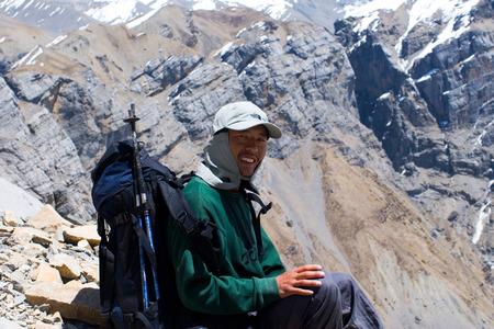 sherpa: Smiling Sherpa trekking guide in yhe Nepal Himalaya