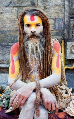 seeks: Shaiva sadhu holy man seeks alms at Pashupatinath temple on May 10, 2008 in Kathmandu, Nepal