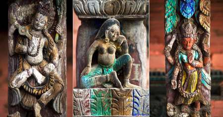 parvati: Set of ancient wooden carving at the facade of a temple on Durbar Square in Bhaktapur, Kathmandu valley, Nepal Stock Photo