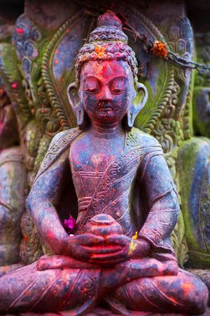 indian god: Stone Buddha in Bhaktapur, Nepal Stock Photo