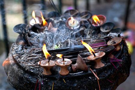 divali: Candles at Dakshinkali Temple in Pharping, Nepal Stock Photo