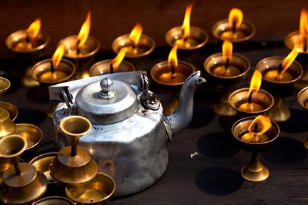 divali: Candles and pot at Boudhanath stupa in Kathmandu, Nepal Stock Photo