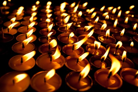 divali: Candles at swayambhunath temple in Kathmandu, Nepal Stock Photo