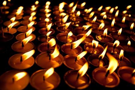 Candles at swayambhunath temple in Kathmandu, Nepal Foto de archivo