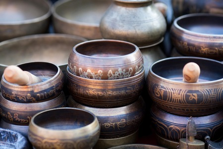india culture: Singing Bowls Cup of life - popular mass product souvenier in Nepal, Tibet and India
