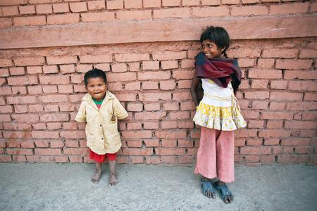 seeks: KATHMANDU, NEPAL - APRIL 06: Children seeks alms on the street on April 6, 2010 in Kathmandu, Nepal Editorial