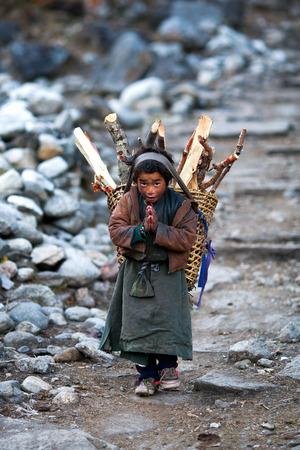 LHO, GORKHA, NEPAL - NOVEMBER 29: Nepalese boy with basket of firewood poses for a photo on the road to Lho village on November 29, 2009 in Gorkha District, Nepal Redakční