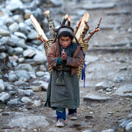 namaste: LHO, GORKHA, NEPAL - NOVEMBER 29: Tibetan boy with basket of firewood poses for a photo on the road to Lho village on November 29, 2009 in Gorkha District, Nepal