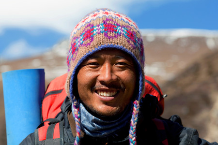 sherpa: Sherpa trekking guide at the mountain pass on December 01, 2009 in Manaslu Conservationa area, Nepal Himalaya