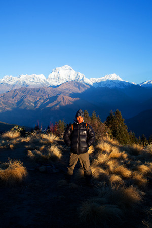 sherpa: Sherpa trekking Guide poses for a photo at Poon Hill on December 20, 2009 in Annapurna National Park, Nepal