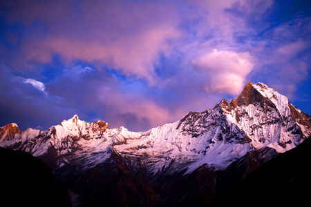 fishtail: Mount Machapuchare Fishtail at sunset, view from Annapurna base camp. Machhapuchchare is a mountain in the Annapurna Himal of north Central Nepal.
