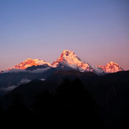 hill range: Machapuchare and Annapurna range from Poon Hill, Nepal