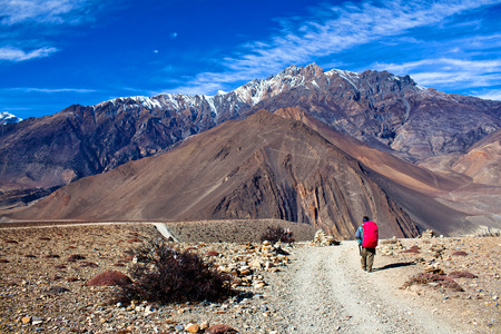 Road from Muktinath to Jomsom, a part of Annapurna Circuit trek, Nepal. Annapurna circuit the popular trekking trail.