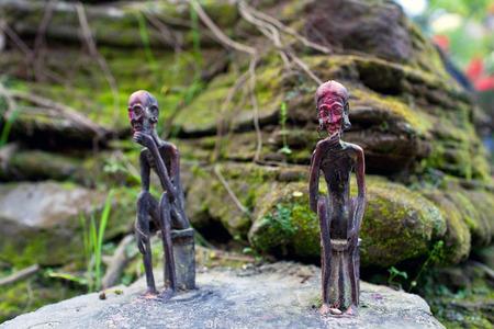 mahadev: Old small statuettes of local guardian spirits near holy Gupteshwor Mahadev cave in Pokhara, Nepal