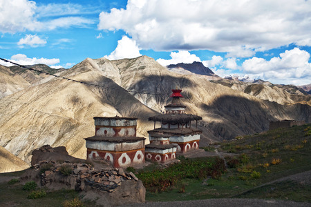 gompa: Ancient Bon stupa in Saldang village, Nepal. Saldang lies in Nankhang Valley, the most populous of the sparsely populated valleys making up the culturally Tibetan region of Dolpo.