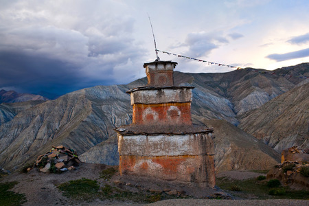 tibetan house: Ancient Bon stupa in Saldang village, Nepal. Saldang lies in Nankhang Valley, the most populous of the sparsely populated valleys making up the culturally Tibetan region of Dolpo.