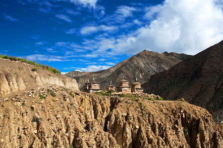 buddhist stupa: Ancient buddhist stupa and chortens in Inner Dolpo, Nepal