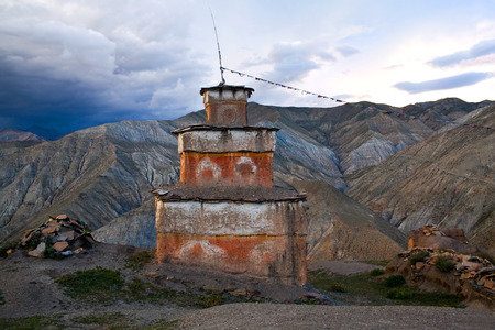 tantric: Ancient Bon stupa in Saldang village, Nepal. Saldang lies in Nankhang Valley, the most populous of the sparsely populated valleys making up the culturally Tibetan region of Dolpo.