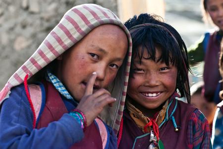 SALDANG - SEPTEMBER 06: Tibetan students poses for the photo during their break time on September 06, 2011 in Saldang, Upper Dolpo, Nepal