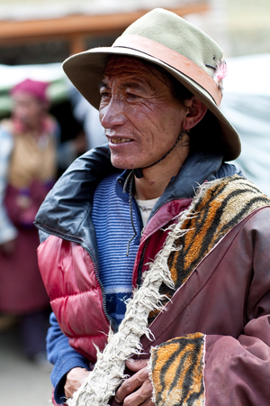 drover: DHO TARAP, NEPAL - SEPTEMBER 10: An unidentified Tibetan drover during the local Dho Tarap Full Moon Festival on September 10, 2011 in Dho Tarap Village, Dolpo district, Nepal